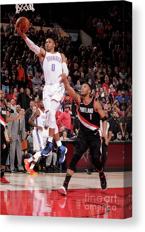 Nba Pro Basketball Canvas Print featuring the photograph Russell Westbrook by Cameron Browne