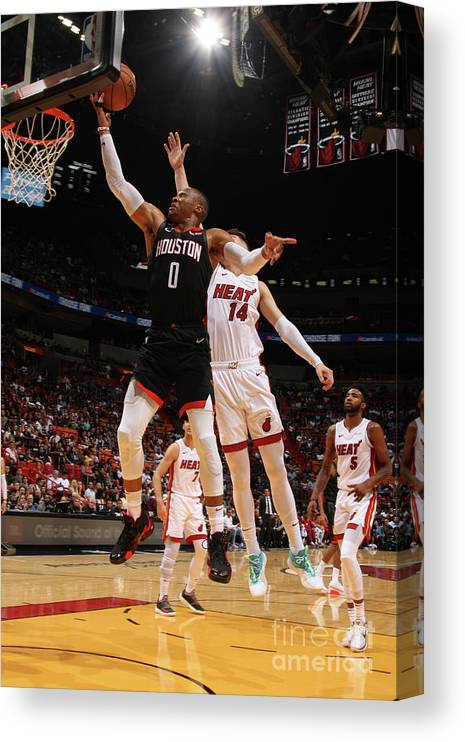 Nba Pro Basketball Canvas Print featuring the photograph Russell Westbrook by Oscar Baldizon