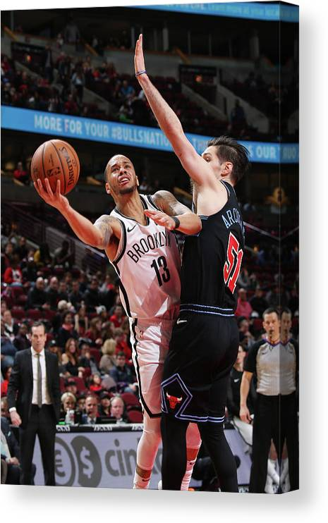 Nba Pro Basketball Canvas Print featuring the photograph Ryan Arcidiacono and Shabazz Napier by Gary Dineen