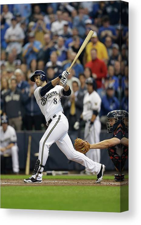 Home Base Canvas Print featuring the photograph Ryan Braun by Mike Mcginnis