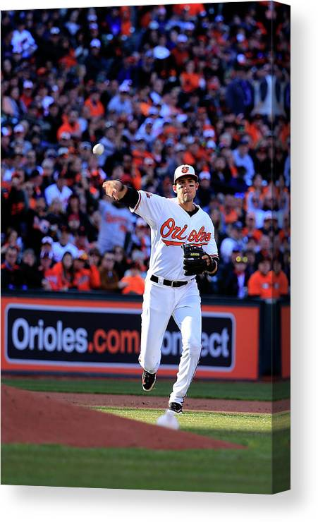 American League Baseball Canvas Print featuring the photograph Ryan Flaherty by Rob Carr