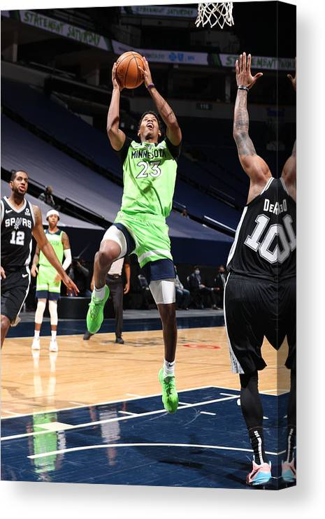 Nba Pro Basketball Canvas Print featuring the photograph San Antonio Spurs v Minnesota Timberwolves by David Sherman