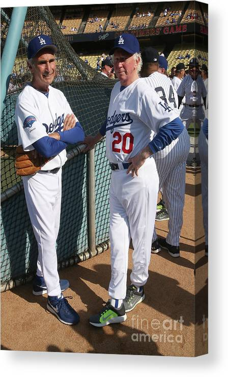 Sandy Koufax Canvas Print featuring the photograph Sandy Koufax and Don Sutton by Stephen Dunn