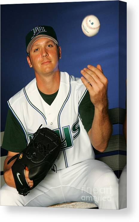 Media Day Canvas Print featuring the photograph Scott Kazmir by Jamie Squire