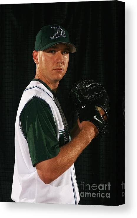 Media Day Canvas Print featuring the photograph Scott Kazmir by Nick Laham
