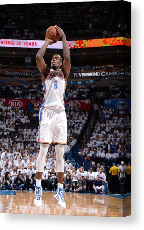 Playoffs Canvas Print featuring the photograph Serge Ibaka by Andrew D. Bernstein