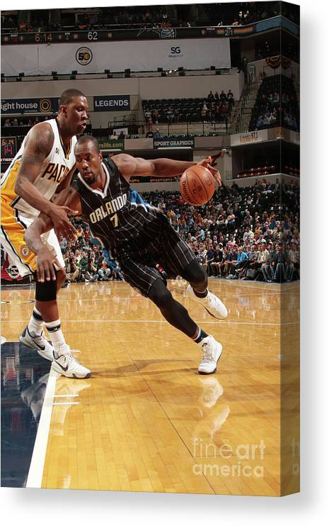 Nba Pro Basketball Canvas Print featuring the photograph Serge Ibaka by Ron Hoskins
