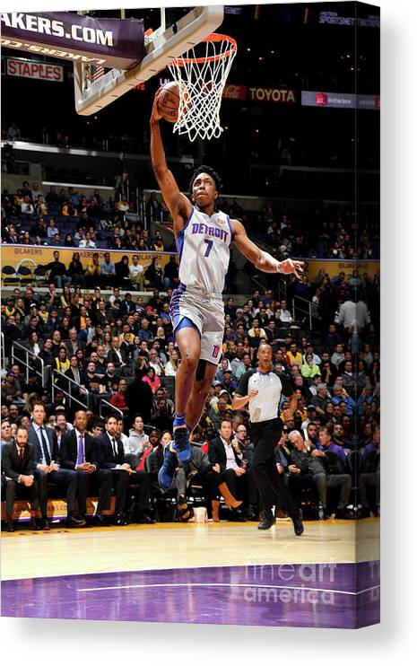 Nba Pro Basketball Canvas Print featuring the photograph Stanley Johnson by Andrew D. Bernstein