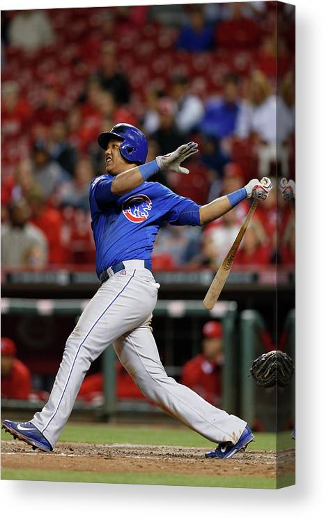 Great American Ball Park Canvas Print featuring the photograph Starlin Castro by Joe Robbins