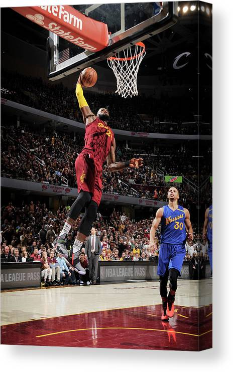 Nba Pro Basketball Canvas Print featuring the photograph Stephen Curry and Lebron James by David Liam Kyle