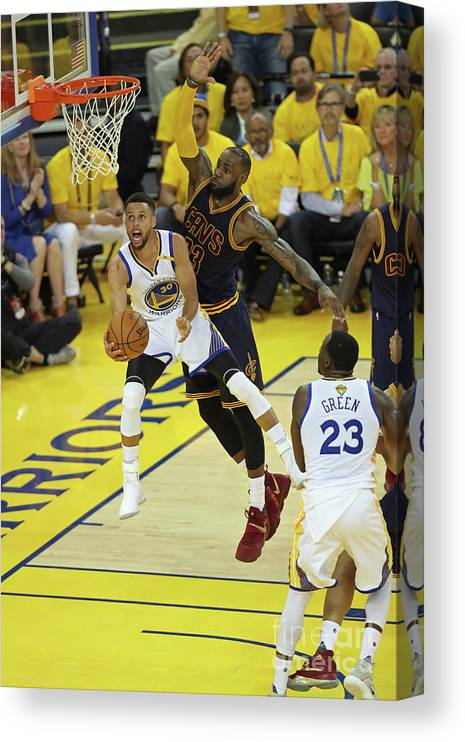 Playoffs Canvas Print featuring the photograph Stephen Curry and Lebron James by Joe Murphy