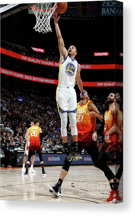 Nba Pro Basketball Canvas Print featuring the photograph Stephen Curry by Melissa Majchrzak