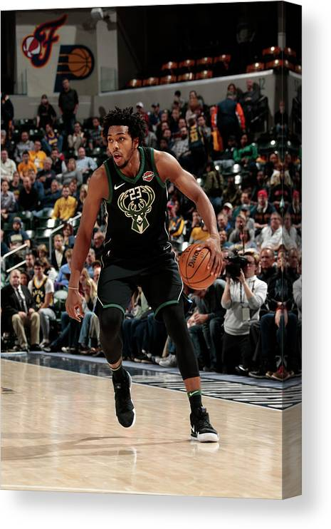 Nba Pro Basketball Canvas Print featuring the photograph Sterling Brown by Ron Hoskins