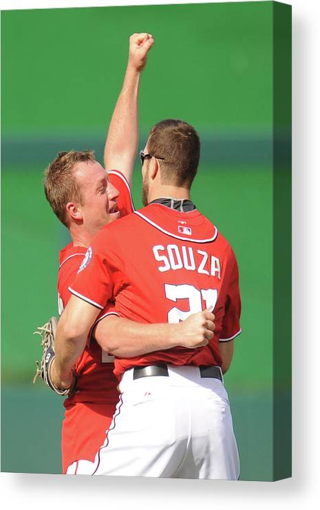 Celebration Canvas Print featuring the photograph Steven Souza and Jordan Zimmermann by Mitchell Layton