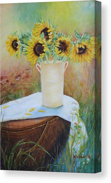 Sunflowers Canvas Print featuring the painting Sun flowers by Nellie Visser