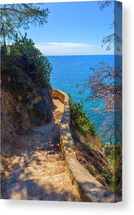Camino De Ronda Canvas Print featuring the photograph The Cami De Ronda By Lloret De Mar by Vicen Photography