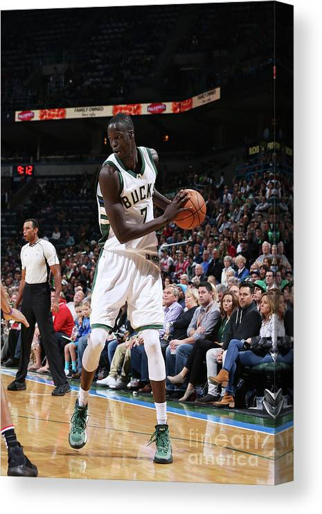 Nba Pro Basketball Canvas Print featuring the photograph Thon Maker by Gary Dineen
