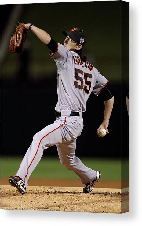 American League Baseball Canvas Print featuring the photograph Tim Lincecum by Doug Pensinger