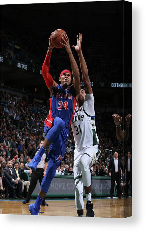 Nba Pro Basketball Canvas Print featuring the photograph Tobias Harris by Gary Dineen