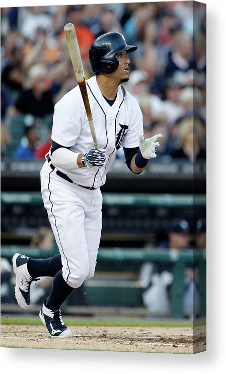American League Baseball Canvas Print featuring the photograph Torii Hunter and Victor Martinez by Duane Burleson