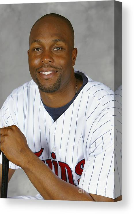 Media Day Canvas Print featuring the photograph Torii Hunter by Ezra Shaw