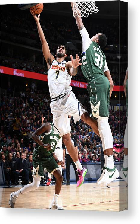 Nba Pro Basketball Canvas Print featuring the photograph Trey Lyles by Garrett Ellwood