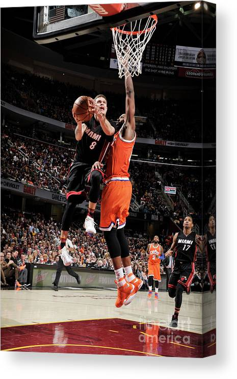 Nba Pro Basketball Canvas Print featuring the photograph Tristan Thompson and Tyler Johnson by David Liam Kyle