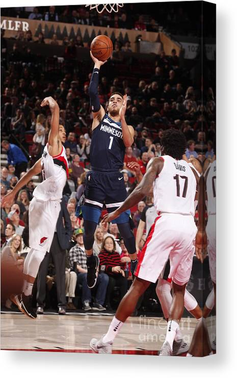 Nba Pro Basketball Canvas Print featuring the photograph Tyus Jones by Cameron Browne