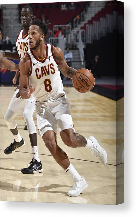Nba Pro Basketball Canvas Print featuring the photograph Utah Jazz v Cleveland Cavaliers by David Liam Kyle