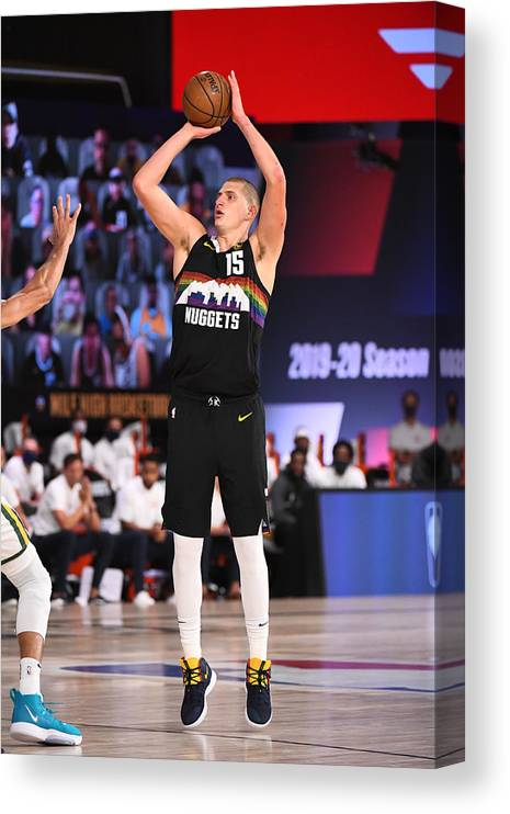 Playoffs Canvas Print featuring the photograph Utah Jazz v Denver Nuggets - Game One by Garrett Ellwood
