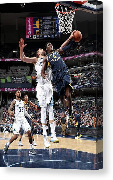 Nba Pro Basketball Canvas Print featuring the photograph Victor Oladipo and Marc Gasol by Joe Murphy