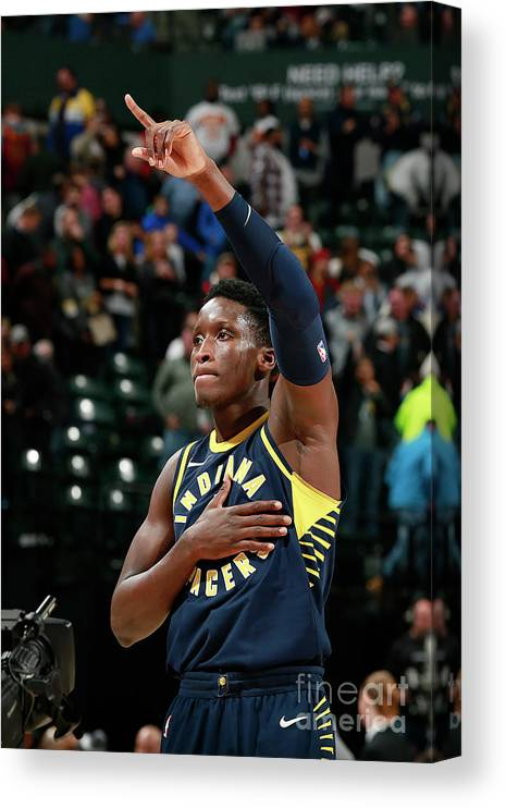 Nba Pro Basketball Canvas Print featuring the photograph Victor Oladipo by Jeff Haynes