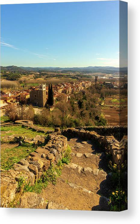 Color Canvas Print featuring the photograph Views Of The Town Of Hostalric In Girona by Vicen Photography