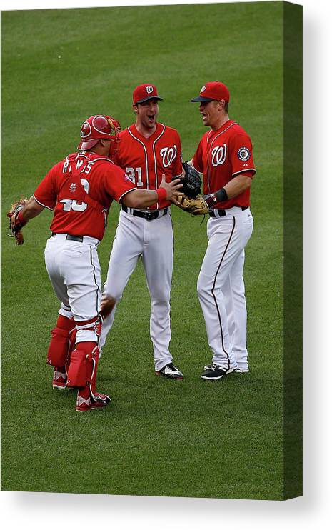 People Canvas Print featuring the photograph Wilson Ramos, Max Scherzer, and Tyler Moore by Rob Carr