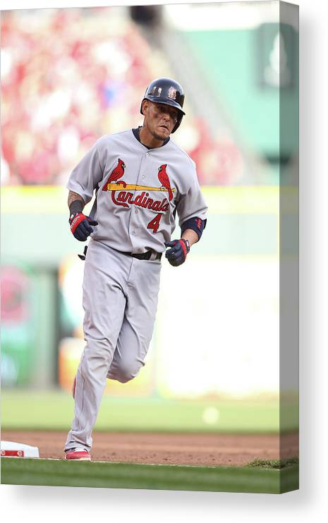 Great American Ball Park Canvas Print featuring the photograph Yadier Molina by John Grieshop