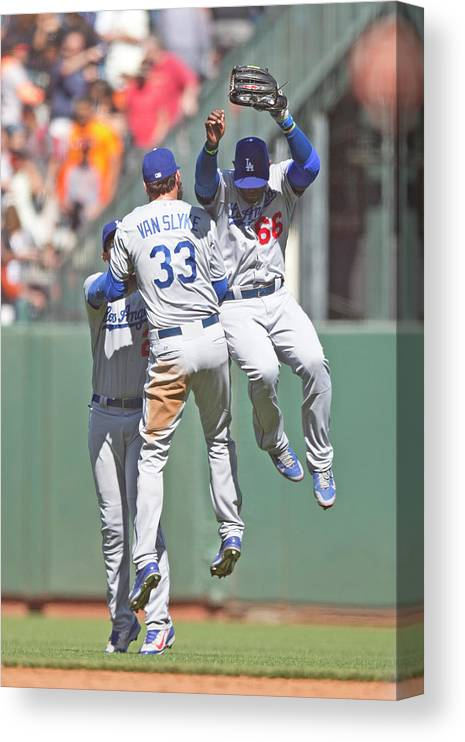 San Francisco Canvas Print featuring the photograph Yasiel Puig, Scott Van Slyke, and Matt Kemp by Jason O. Watson