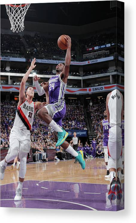Nba Pro Basketball Canvas Print featuring the photograph Zach Collins and Buddy Hield by Rocky Widner