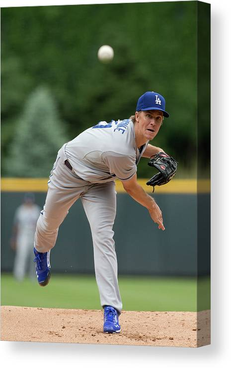 Los Angeles Dodgers Canvas Print featuring the photograph Zack Greinke by Justin Edmonds