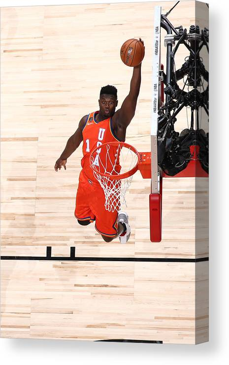 Nba Pro Basketball Canvas Print featuring the photograph Zion Williamson by Nathaniel S. Butler