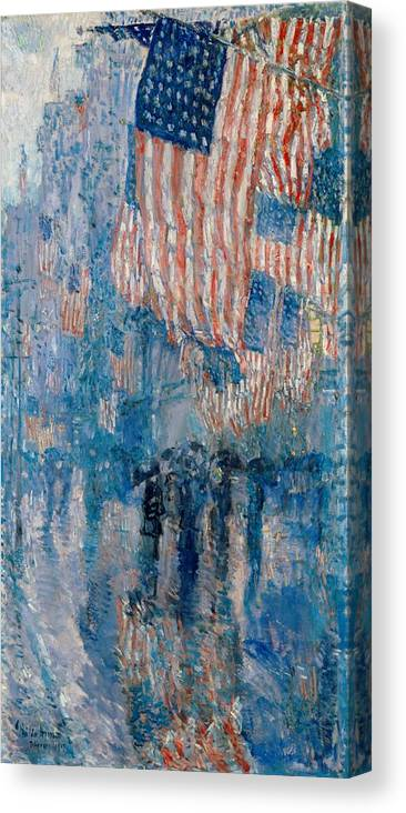 AMERICAN FLAGS HANGING IN NEW YORK CHILDE HASSAM PAINTING ART REAL CANVAS PRINT