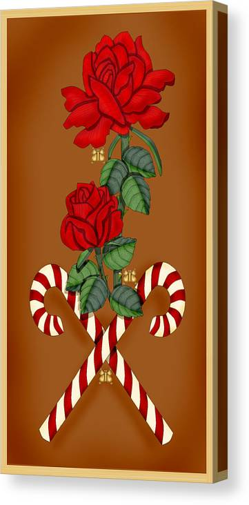 Hand-drawn Digital Roses; Digital Roses; Red Roses; Candy Canes; Anne Norskog Canvas Print featuring the painting Candy Cane Roses by Anne Norskog