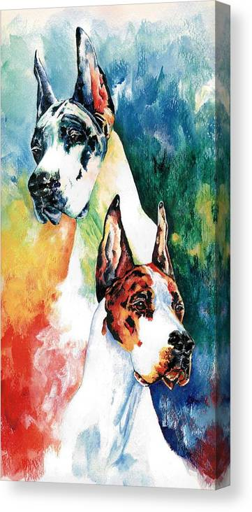 Great Dane Canvas Print featuring the painting Fire And Ice by Kathleen Sepulveda