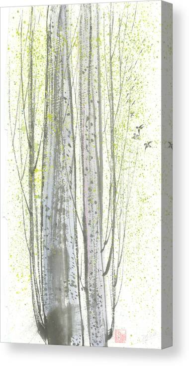 New Leaves Sprung Out From A Polar Tree With Birds Singing Among The Branches Canvas Print featuring the painting New Leaves by Mui-Joo Wee