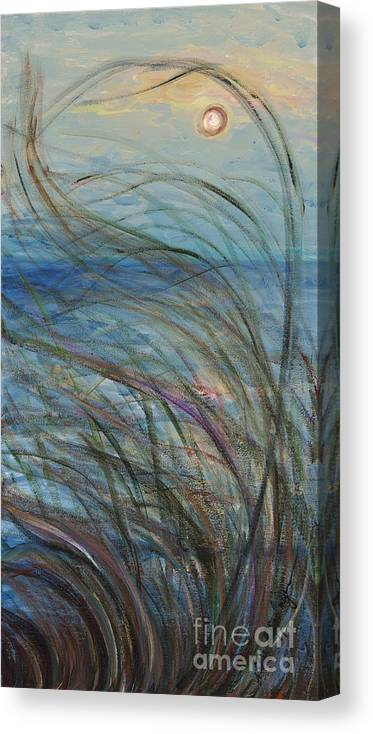 Sunrise Canvas Print featuring the painting Ocean Grasses In The Wind by Nadine Rippelmeyer