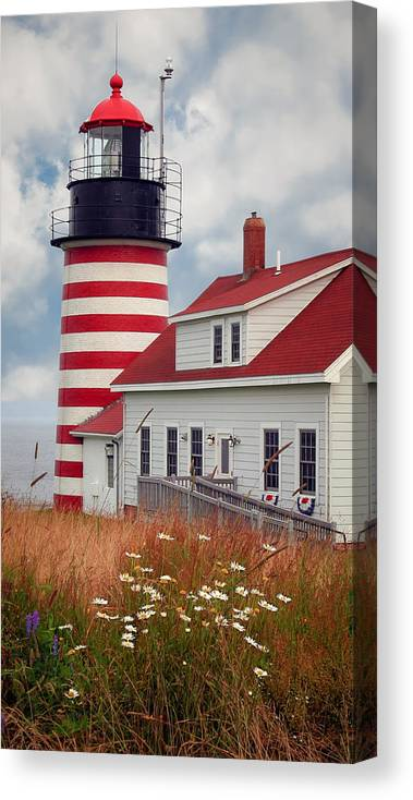 West Quoddy Lighthouse Canvas Print featuring the photograph Quoddy Lighthouse Afternoon by Brenda Giasson