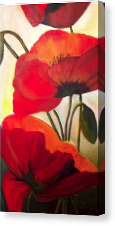 Floral Canvas Print featuring the painting Red Poppies by Eileen Kasprick
