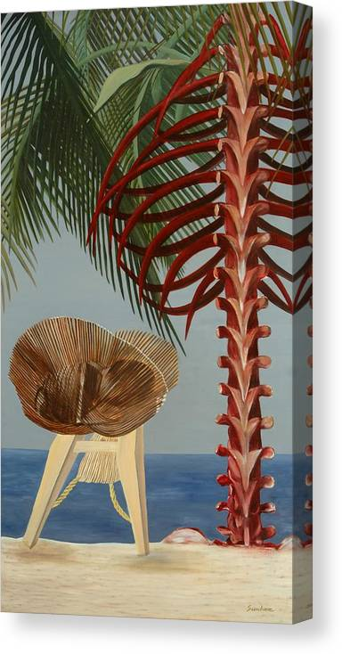 Beach Canvas Print featuring the painting Rest in Peace by Sunhee Kim Jung