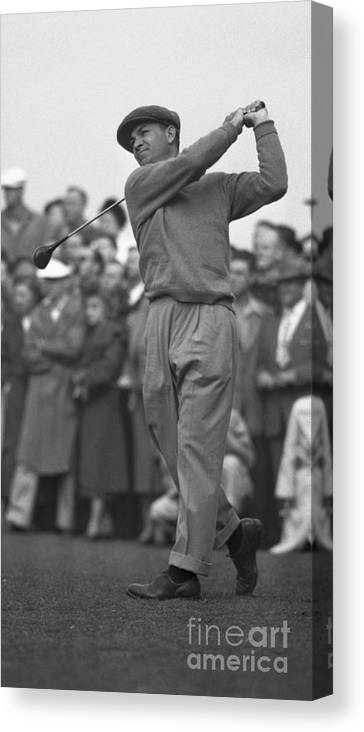 Playoffs Canvas Print featuring the photograph Ben Hogan Swinging Golf Club by Bettmann