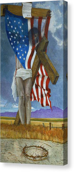 Cross Canvas Print featuring the painting Take Down That Cross by Robert Tracy