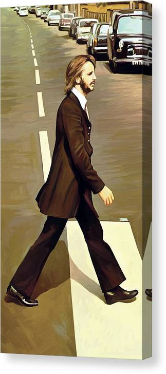 The Beatles Abbey Road Paintings Canvas Print featuring the painting The Beatles Abbey Road Artwork Part 3 of 4 by Sheraz A